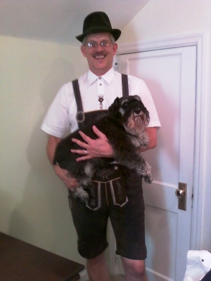 Dad is ready to go teach polka at Rock City. Here I am hoping he hasn't gotten some wild idea about putting a costume on me.