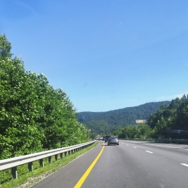 The mountains are beautiful going heading north through Tennessee.