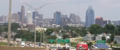 This Cincinnati, Ohio skyline is supposed to be famous.  Look at all the traffic.