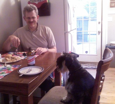 This is me and my Dad on my birthday in 2008. I don't know why he has such a funny look on his face.