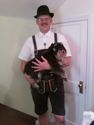 Not to be outdone, Dad donned his authentic lederhosen AND held a schnauzer.