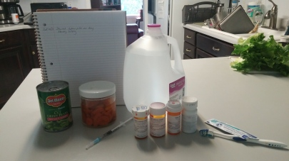 My medicines and special veggies and water
